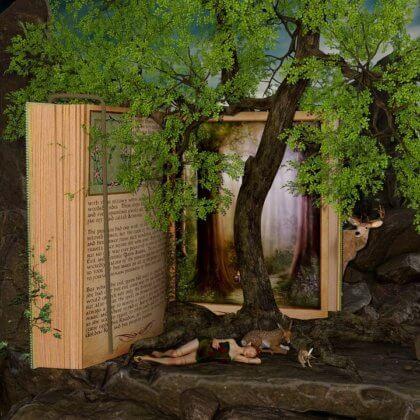 El hada y la reina - un cuento de cuidadoras de niños - Hada delante de un libro enorme de cuentos