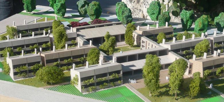 cohousing-vivienda colaborativa-maqueta de zona residencial