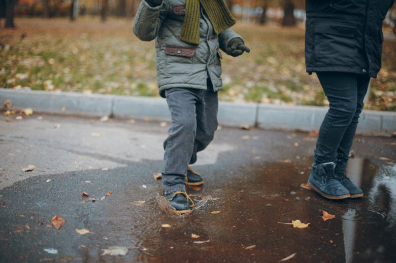 Actividades con lluvia-Pie de niño pisando un charco