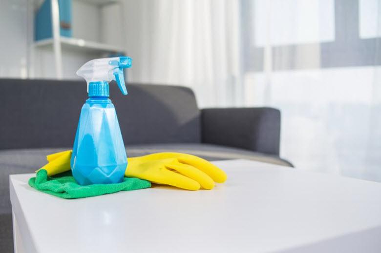 limpieza en casa, vaporizador y guantes de goma encima de la mesa