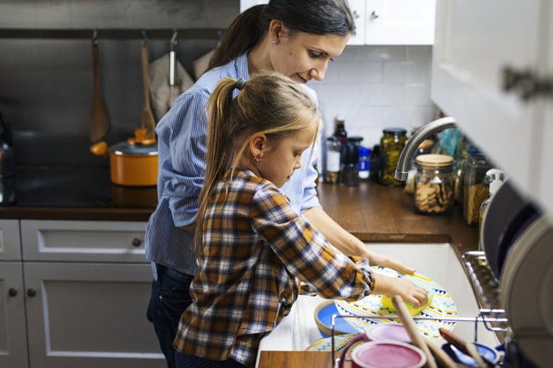 hija fregando los platos con su madre