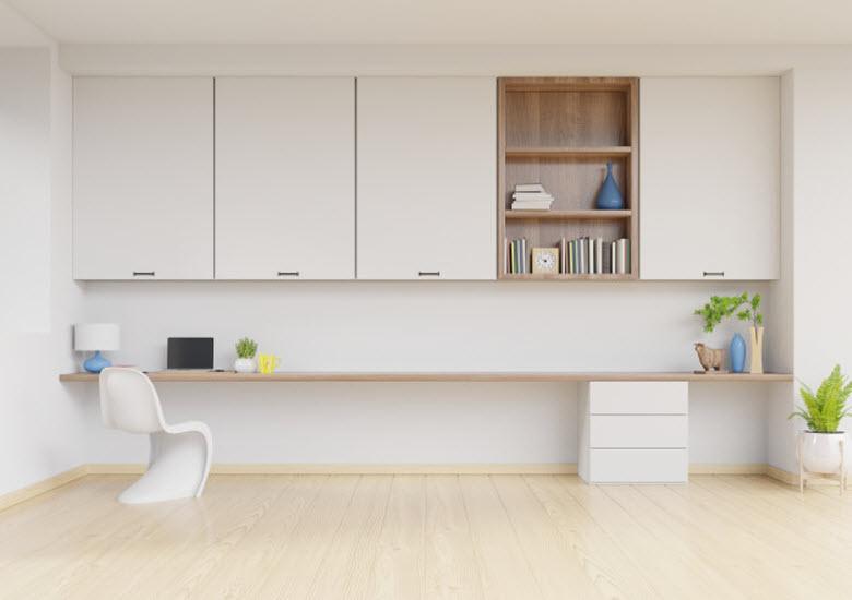pared de mueble salón blanca y moderna